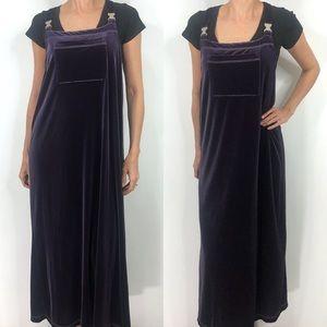 Vintage Carol Anderson Purple Velvet Maxi Dress